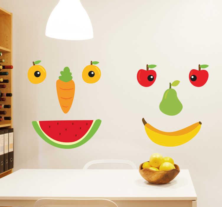 TenVinilo. Pegatinas rostros de frutas. Vinilo de frutas compuesto por diversos de estos elementos formando dos alegres caras para motivar a los más pequeños a comerse todo el plato.