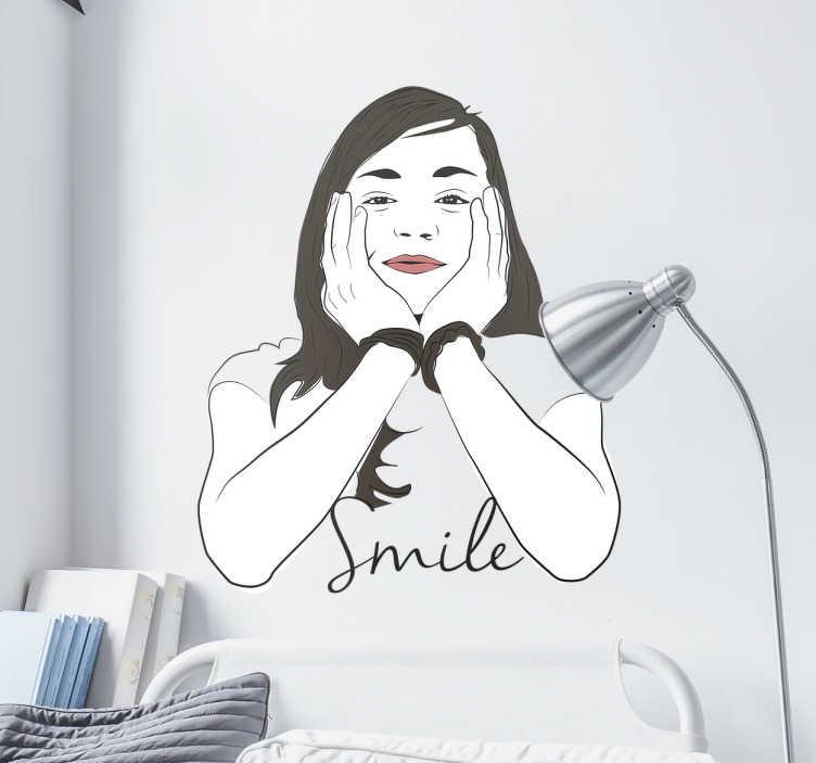 TenStickers. Sticker visage Smile. Ajoutez une touche de gaieté à vos murs avec ce sticker d'une femme avec les deux mains sur le visage et la phrase  «Smile». Il boostera votre moral.