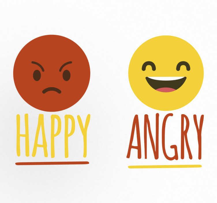 TenStickers. Muursticker Emoji Happy en Angry. Muursticker met twee emoji´s eentje Happy en eentje Angry een leuke sticker voor degene die op het ene moment happy zijn en het volgende moment angry.