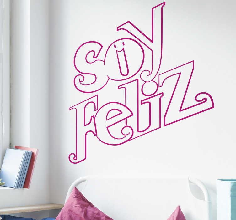 """TenVinilo. Vinilos decorativos lettering feliz. Vinilos originales con un texto positivo dibujado a mano """"soy feliz"""" ideal para decorar cualquier estancia de tu casa."""