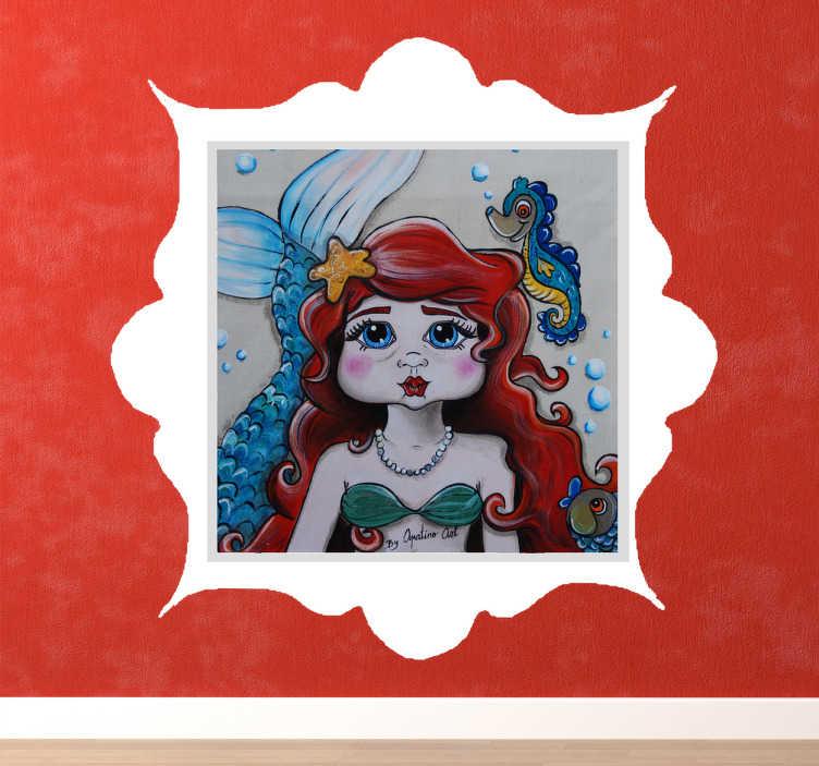 TenStickers. Sticker la petite sirène. Sticker d'un tableau représentant la petite sirène avec un pélican entouré d'un nuage. Il est idéal pour décorer la chambre de votre enfant
