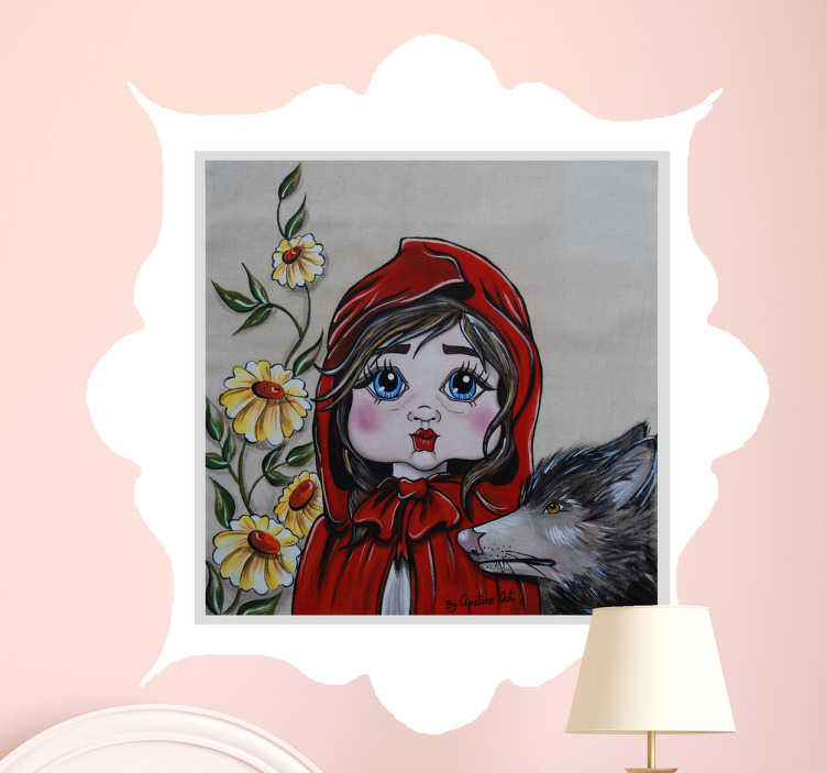 TenStickers. Naklejka - Czerwony Kapturek. Piękna, artystyczna naklejka na ścianę dla dziewczynek lubiących Czerwonego Kapturka.