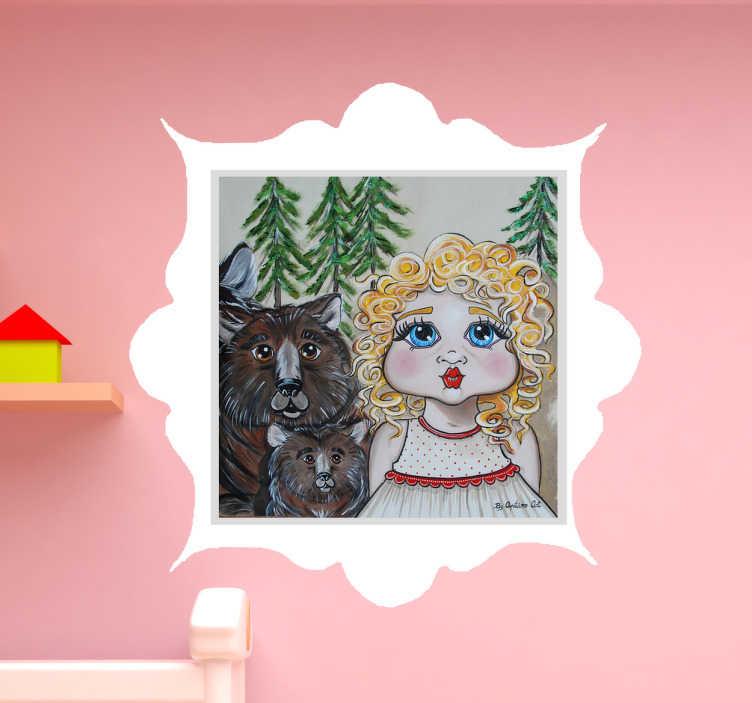 TenVinilo. Vinilo decorativo infantil ricitos. Vinilos infantiles de cuentos clásicos realizados por la ilustradora Apatino Art para tenvinilo con un dibujo de Ricitos de Oro.