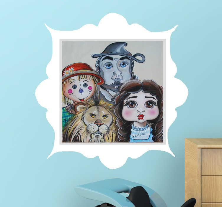 TenVinilo. Vinilo infantil personajes mago de oz. Vinilos infantiles de la ilustradora Apatino Art con una ilustración de los personajes principales de este cuento que narra las aventuras de Dorothy.