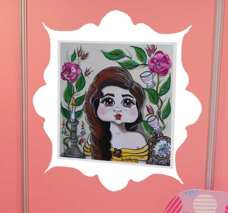 TenStickers. Naklejka dla dzieci - Portret Belli. Wspaniała naklejka na ścianę dla wszystkich dziewczynek, które uwielbiają Bellę.