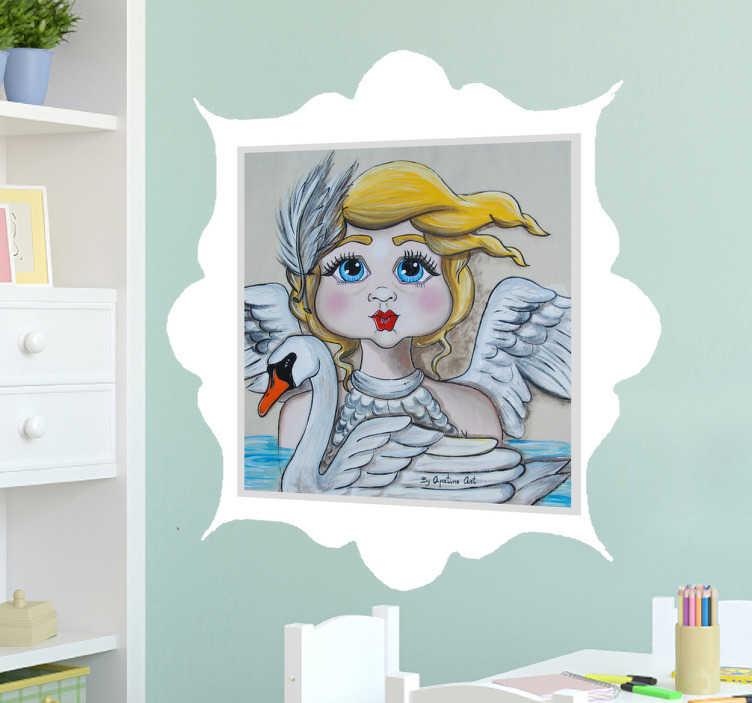 TenStickers. Sticker tableau cendrillon. Sticker tableau de cendrillon accompagnée d'un cygne, bordé d'un nuage parfait pour les enfants fan du personnage et de ses aventures.