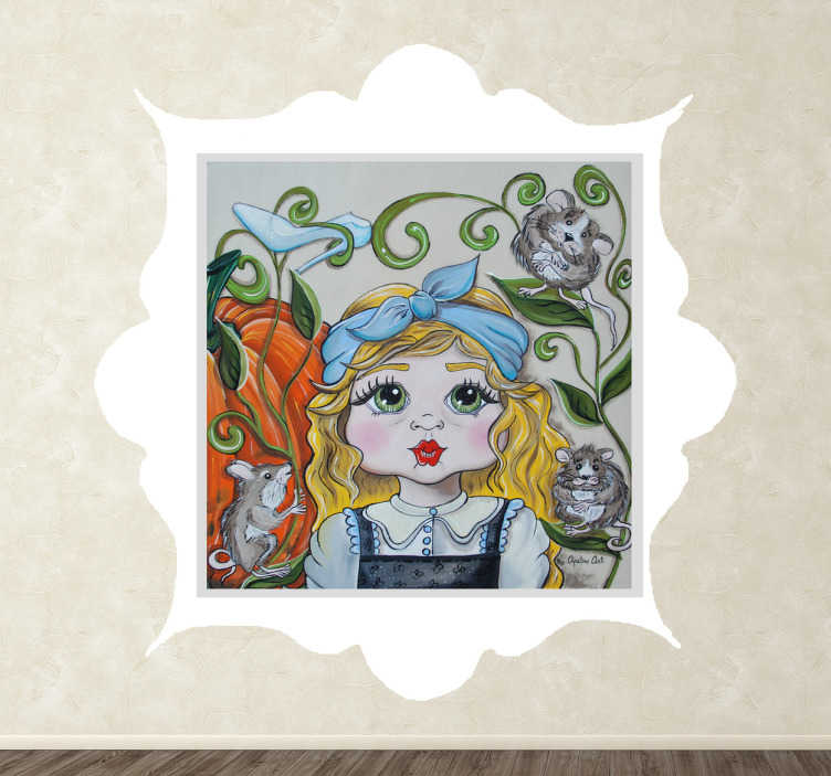 TenStickers. Muursticker kinderen Assepoester. Muursticker met hierop een geschilderde versie van Assepoester met haar behulpzame muizen en pompoen.