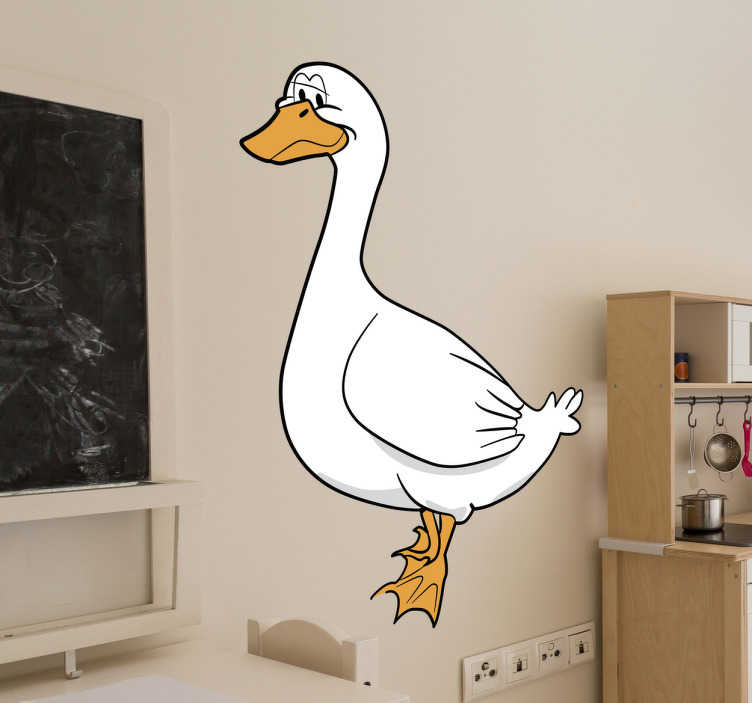 TenVinilo. Vinilo infantil ilustración ganso. Vinilos infantiles con un llamativo dibujo de un ganso o cisne de color blanco, el ave favorita de tus hijos.
