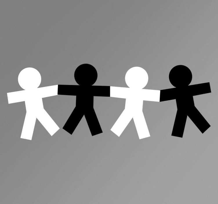 TenStickers. sticker bonhommes solidaires. sticker bonhommes se tenant la main applicable sur toutes surfaces.