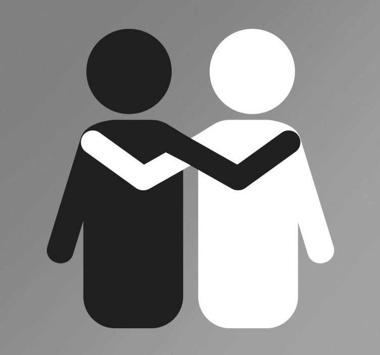 TenStickers. Sticker solidaire noir blanc. Autocollant de solidarité qui envoie un message clair de fraternité avec l'illustration emblématique de deux personnes de différents pays.