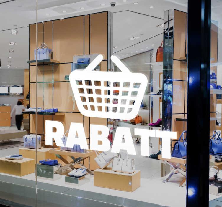 Schaufensteraufkleber Einkaufskorb Rabatt