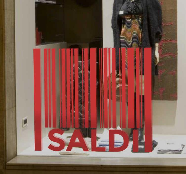 TenStickers. Vetrofania Saldi Codice a Barre. Vetrofania Saldi Codice a Barre per personalizzare le vetrine del tuo negozio con un design fuori dal comune.