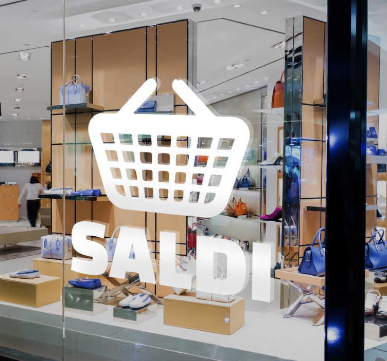 TenStickers. Vetrofania Saldi Cestino. Vetrofania Saldi Cestino dalla nuova collezione dedicata agli sconti per decorare al meglio il tuo shop.