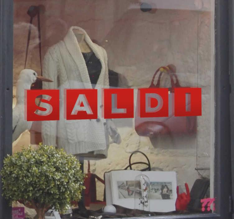 TenStickers. Vetrofania Saldi Lettere. Vetrofania Saldi Lettere per decorare il tuo shop in modo elegante, ma originale ed attirare nuovi clienti.