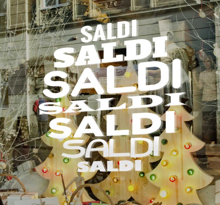 TenStickers. Adesivo Scritte Saldi. Adesivo Scritte Saldi per attirare con grinta e creatività i clienti durante la prossima stagione di sconti.