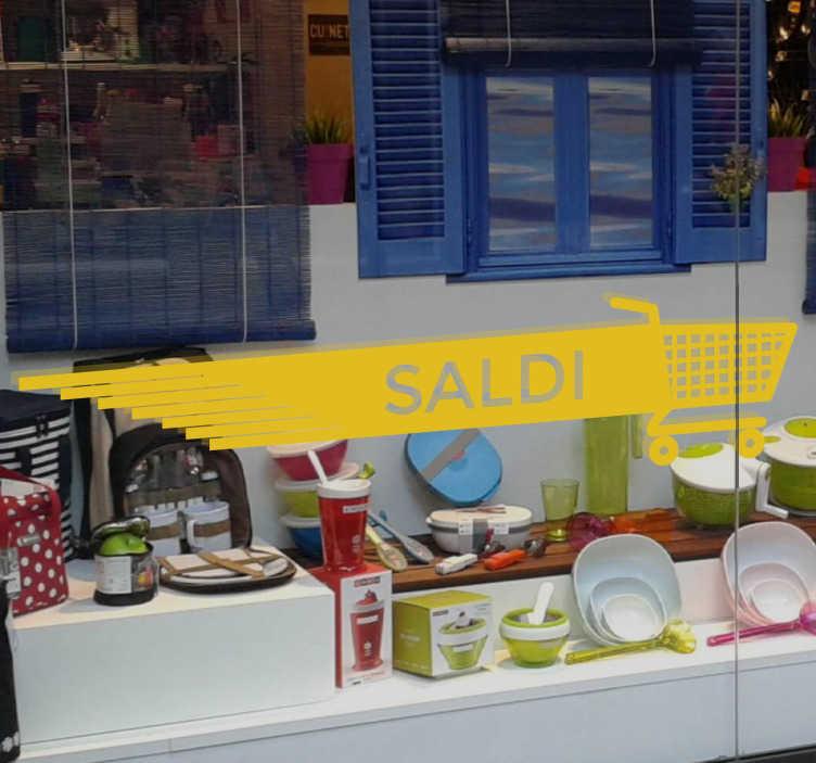 """TenStickers. Vetrofania Saldi Carrello. Vetrofania Saldi Carrello per dare un tocco unico al tuo negozio durante la campagna di saldi.Sticker con un carrello che corre e la parola""""saldi""""."""