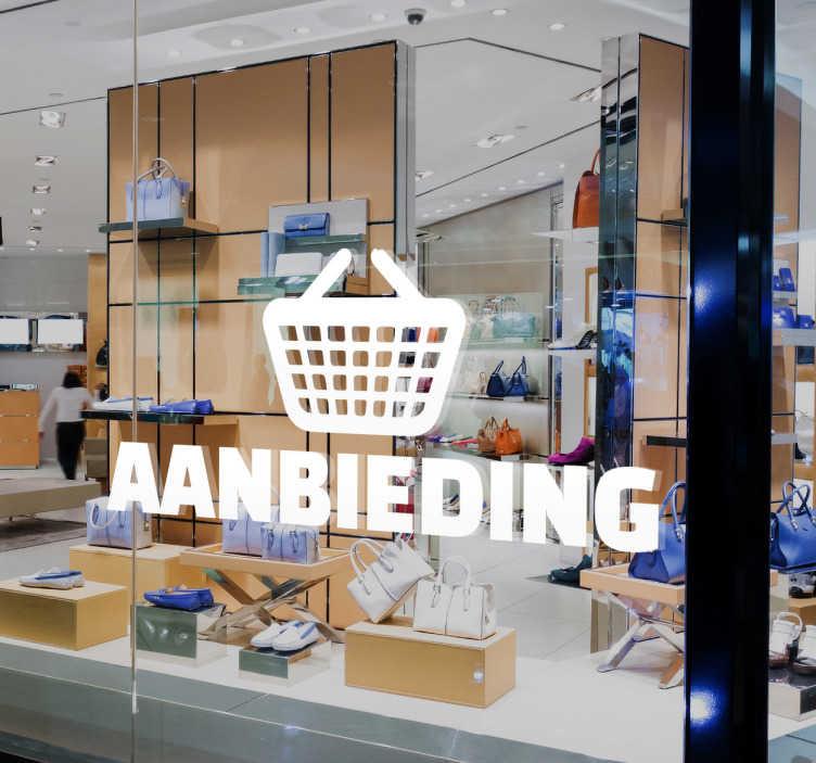 TenStickers. Muursticker aanbieding winkelmand. Muursticker aanbieding winkelmand, op deze wanddecoratie is een winkelmandje te zien met daaronder het woord aanbieding, mooi voor promoties.