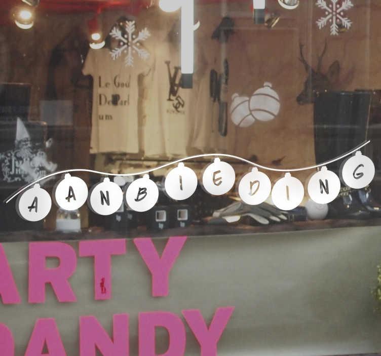 TenStickers. Muursticker kerstballen aanbieding. Muursticker kerstballen aanbieding, op deze sticker is het woord aanbieding te zien met in elke kerstbal een letter afgebeeld.