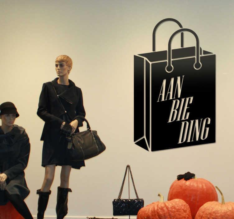 TenStickers. Muursticker aanbieding winkeltas. Muursticker aanbieding winkel tas, met deze mooie wanddecoratie kan je jouw aanbiedingen promoten op je etalage of in je winkel.