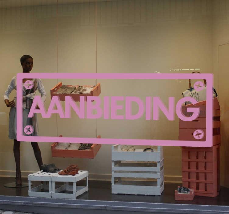 TenStickers. Muursticker bord aanbieding. Muursticker bord aanbieding, een mooie tekststicker voor het promoten van een aanbieding in uw winkel.