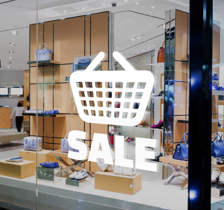 TenStickers. Naklejka na witrynę sklepową SALE. Dekoracja na witrynę sklepową prezentująca koszyk wraz z napisem 'SALE'.
