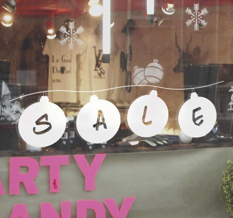 Schaufensteraufkleber Sale Weihnachtskugeln