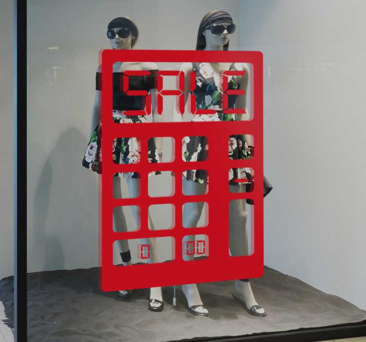 TenStickers. Schaufensteraufkleber Sale Taschenrechner. Sie haben attraktive Sonderangebote? Dann stellen Sie mit diesem Schaufensteraufkleber Sale Taschenrechner sicher, dass Ihre Kunden informiert sind!