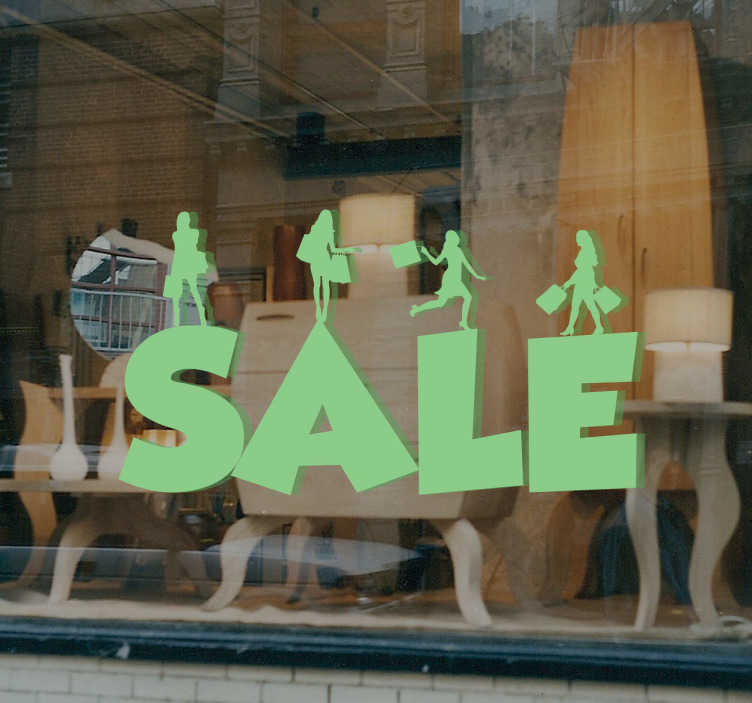 "TenStickers. Sticker sale UK. This sale sticker consists of mini female shoppers standing above each individual letter of the word ""sale""."