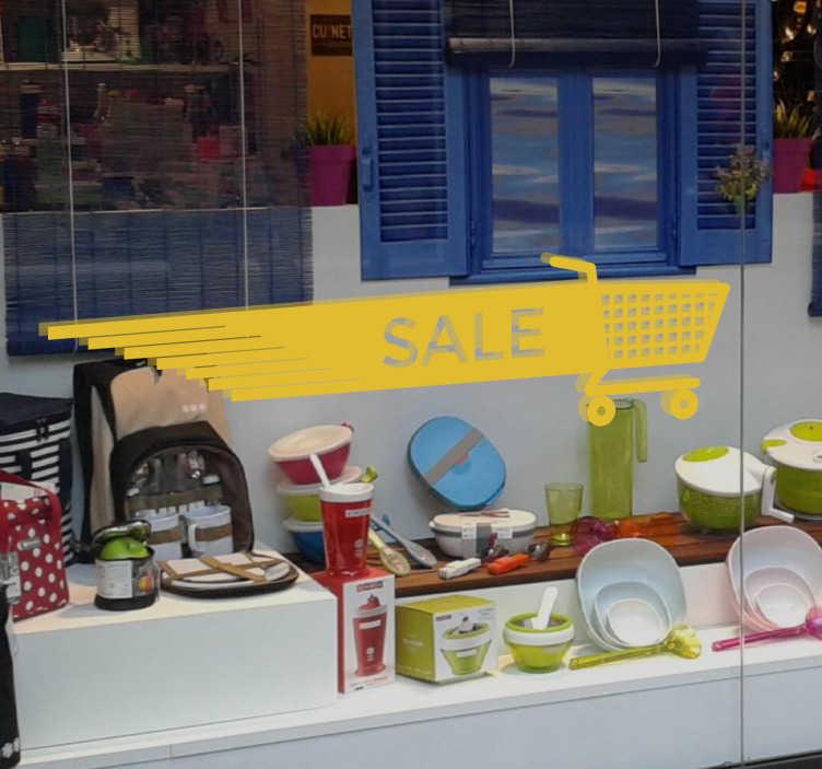 Schaufensteraufkleber Sale Einkaufswagen