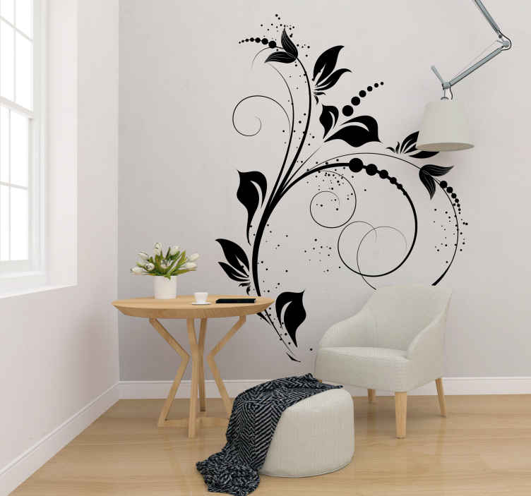 TENSTICKERS. 花装飾カーブウォールステッカー. ウォールステッカー-装飾用の花のデザインで、どの部屋でも心地よくバランスの取れた構図を作ります。あなたの家の装飾のためのエレガントな機能。デカール。