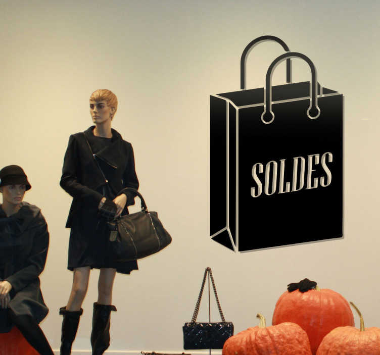 TenStickers. sticker soldes sac shopping. sticker soldes avec sac shopping. Applicable sur toutes surfaces.