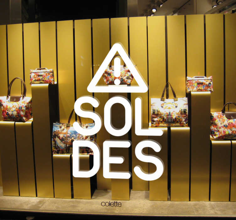 TenStickers. sticker soldes attention. sticker soldes avec symbole 'attention'. Applicable sur toutes surfaces.