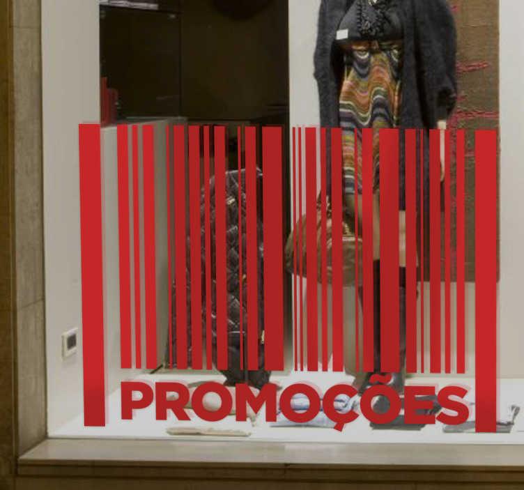 TenStickers. Adesivo promoções código de barras. Autocolante promoção com o desenho de um código de barras e a palavra promoções, ideal para colocar na montra do teu negócio.
