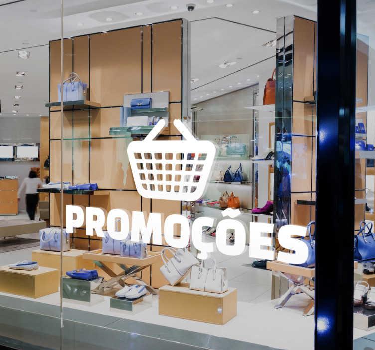 TenStickers. Adesivo promoções cesto. Autocolante promoções com o desenho de um cesto de compras, ideal para colocar na montra do seu negócio.