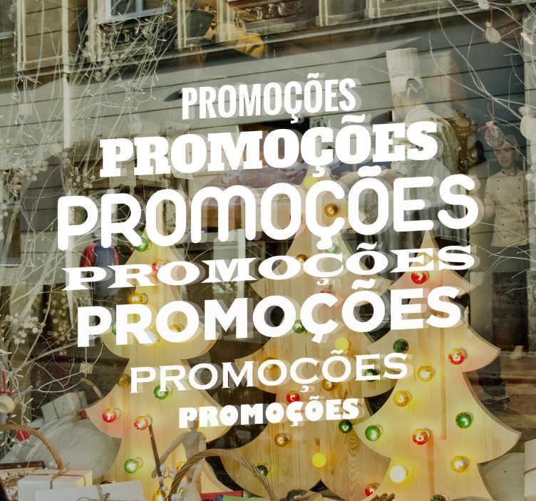 TenStickers. Adesivo promoções. Sticker promoções com a palavra em diferentes tamanhos e fontes de letra. Ideal para decorar a montra da tua loja em época de saldos.