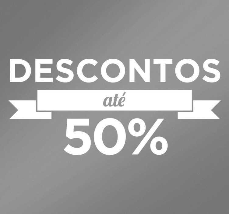 TenStickers. Autocolantes personalizados de descontos 50%. Autocolante descontos que anuncia um desconto nos produtos de até 50%. Ideal para colocar nas montras de lojas e estabelecimentos.