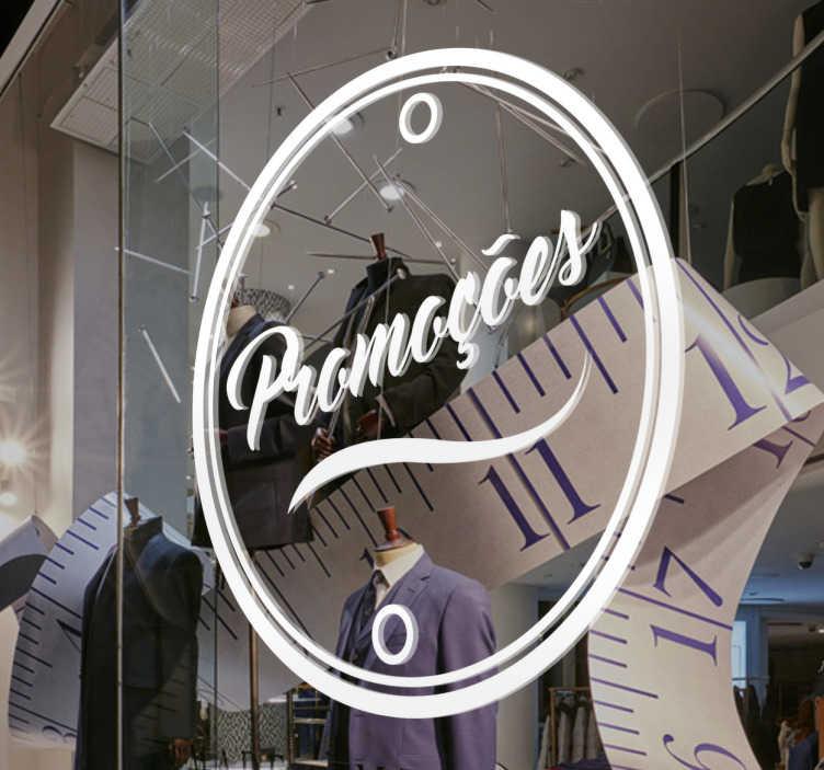 TenStickers. Autocolante promoções círculo. Autocolante promoções com a palavra dentro de um círculo. Sticker ideal para montras de lojas e estabelecimentos comerciais.