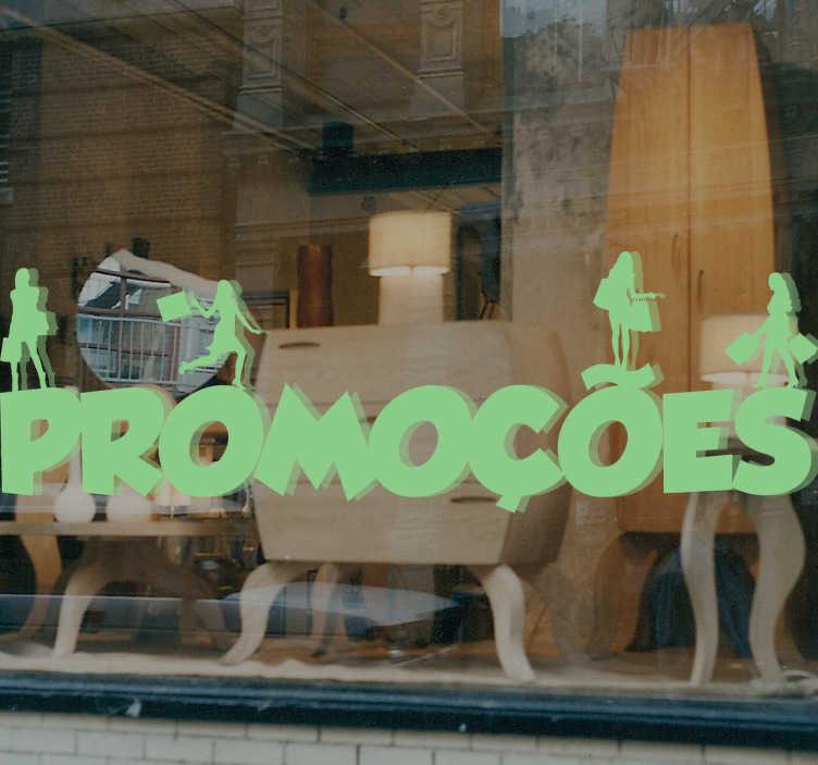 TenStickers. Autocolante promocões shopping. Sticker promoções com o desenho de mulheres com sacos de compras em cima das letras que formam a palavra promoções.