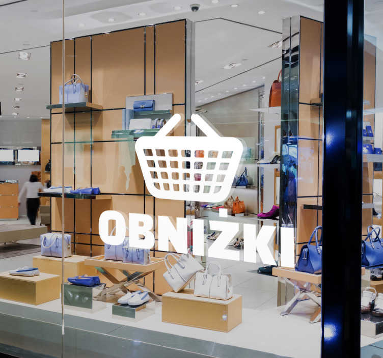 TenStickers. Naklejka koszyk obniżki. Dekoracja na witrynę sklepową,która poinformuje wszystkich,że w Twoim sklepie właśnie trwają wielkie wyprzedaże. Przyciągnij nowych klientów!