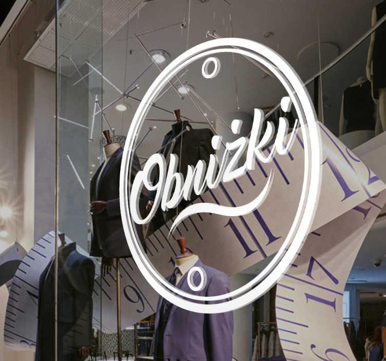 TenStickers. Naklejka dekoracyjna obniżki. Dekoracja na witrynę sklepową,która poinformuje wszystkich,że w Twoim sklepie właśnie trwają wielkie wyprzedaże,które przyciągną każdego.