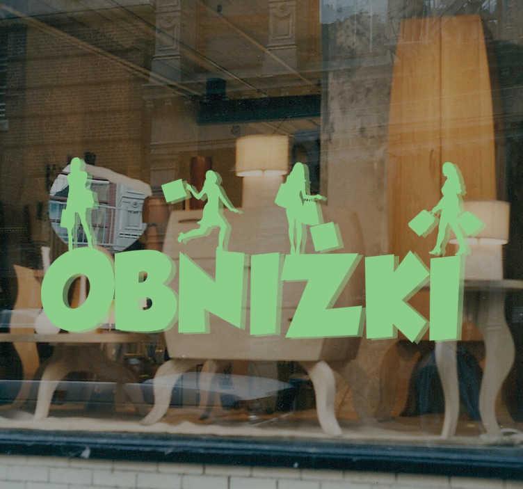 TenStickers. Naklejka dekoracyjna z kobietami obniżki. Dekoracja na witrynę sklepową,która poinformuje wszystkich,że w Twoim sklepie właśnie trwają niepowtarzalne wyprzedaże.
