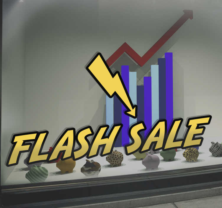 "TenStickers. Flash Sale Decorative Sticker. This decorative sticker perfect for businesses features a lightening bolt alongside the yellow text ""flash sale""."