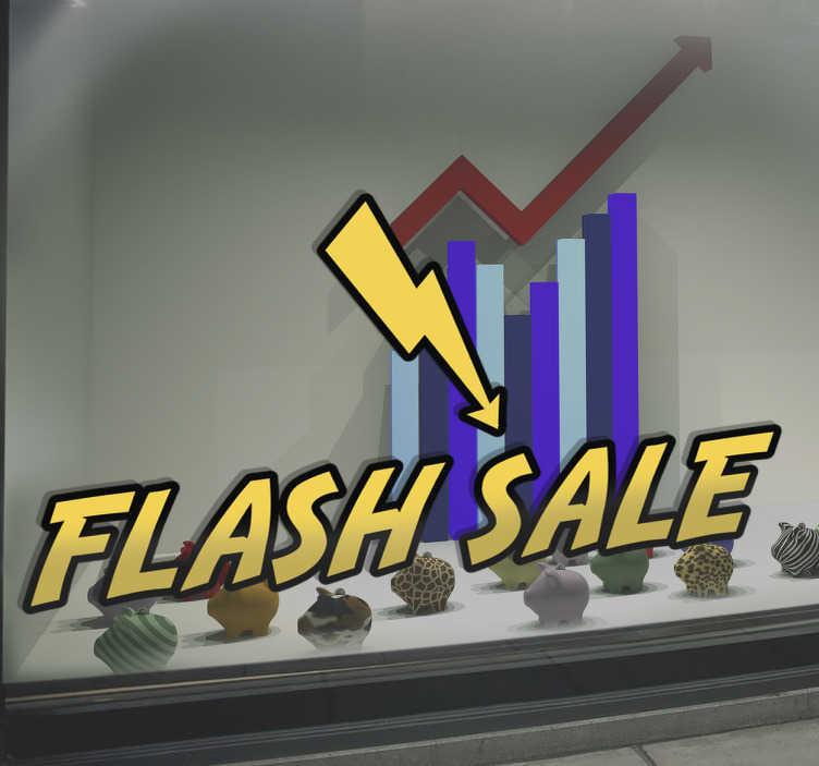 """TenStickers. Muursticker Flash Sale dagaanbieding. Etalage sticker met de tekst """"Flash Sale"""" ook wel bekend als een dag aanbieding. Ideaal voor winkels. Express verzending 24/48u."""
