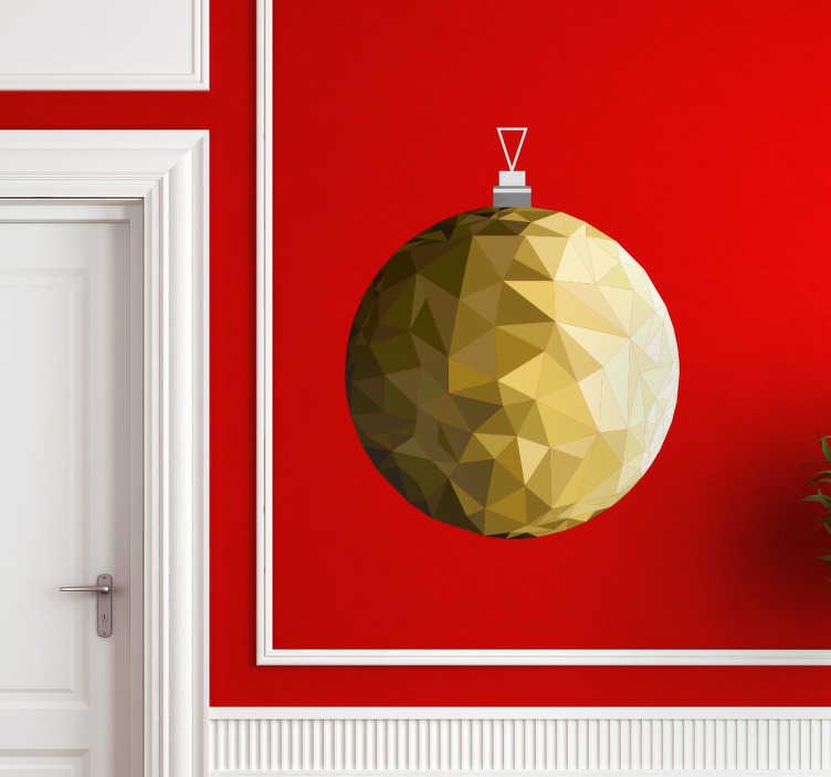 TenStickers. Autocolante decorativo enfeite de natal dourado. Autocolante decorativo com a temática do Natal. adesivo personalizado dourado para deixar a decoração de interiores fantástica e original.