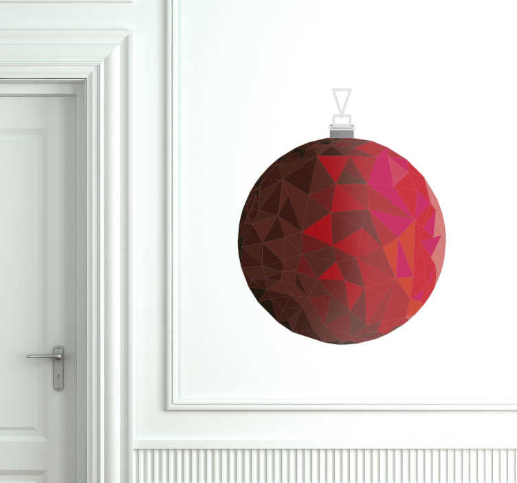 TenStickers. Muursticker rode kerstbal. Muursticker rode kerstbal, een mooie en unieke kerst decoratie om de muren van jouw huis klaar te maken voor de feestdagen.