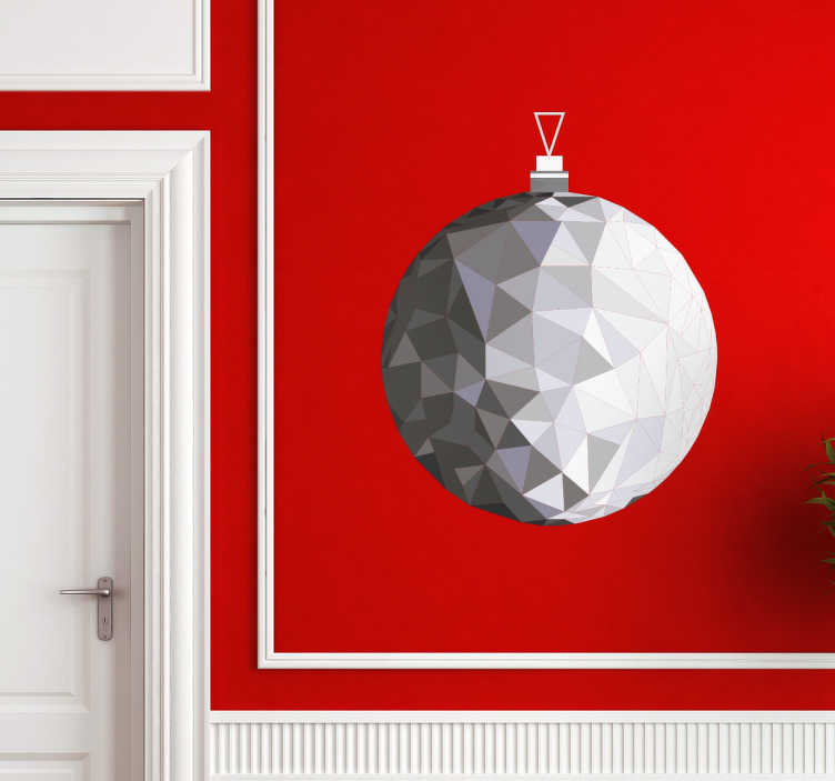 TenStickers. Naklejka - Srebrna bombka. Wspaniała dekoracja świateczna w formie naklejki w kształcie bombki choinkowej.
