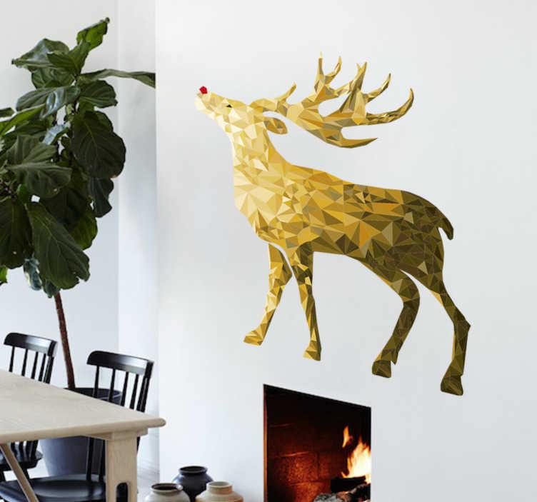TenStickers. Wandtattoo goldenes Rentier. Low-Poly Wandtattoo eines Rentiers mit roter Nasenspitze in wunderschönen Goldtönen. Perfekt für die winterliche Zeit.