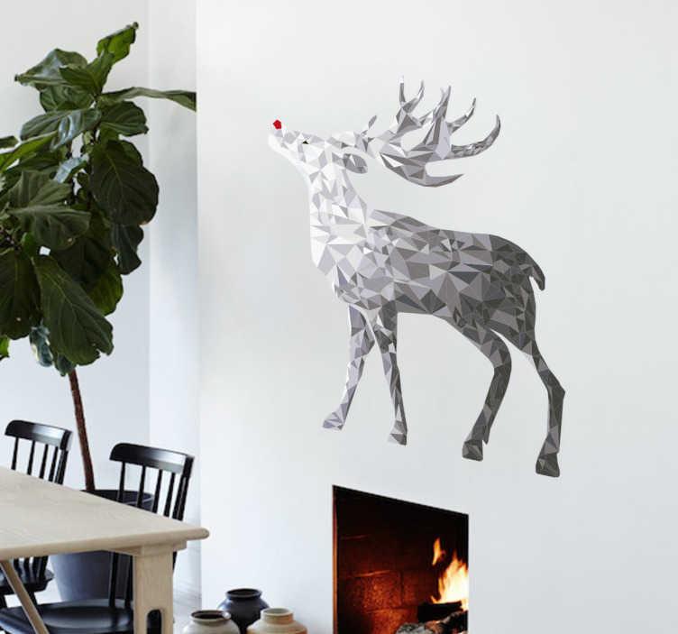 TenStickers. Wandtattoo Rentier Silber. Low-Poly Wandtattoo eines Rentiers mit roter Nasenspitze in wunderschönen Silbertönen. Perfekt für die winterliche Zeit.