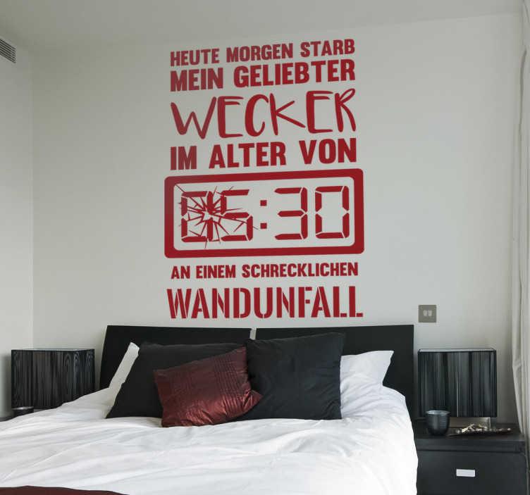 TenStickers. Wandtattoo Wecker. Wandtattoo Wecker - Dieses lustige Wandtattoo beschreibt, was wir alle nur zu gut nachempfinden können! Bringen Sie Humor an die Wände!