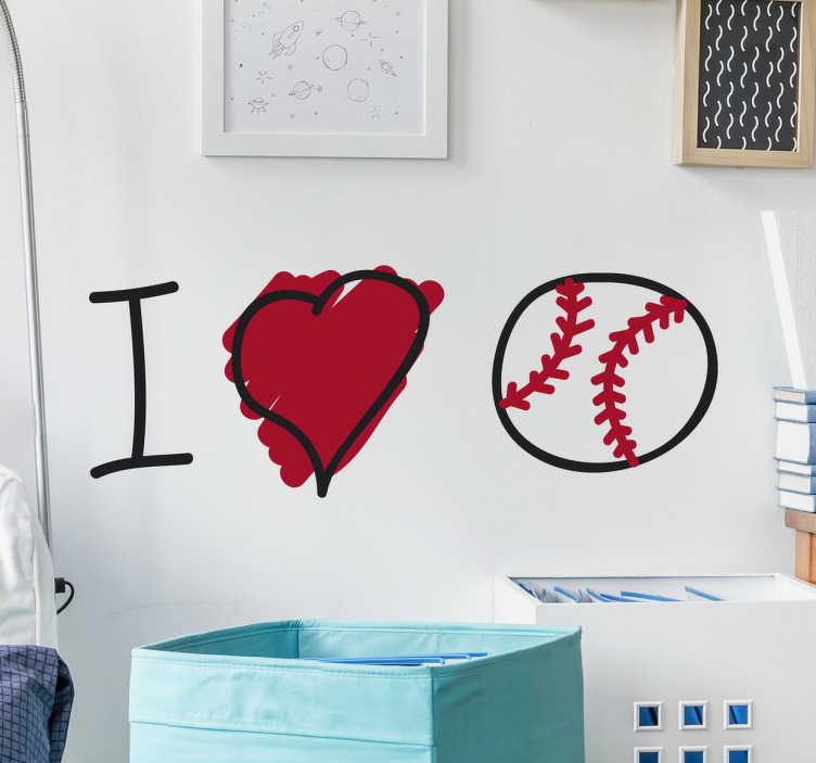 TenStickers. Naklejka z rysunkiem I love Baseball. Naklejka na ścianę prezentująca ilustrację ' I love Baseball'. Naklejka winylowa do pokoju młodzieżowego. Nasi graficy pomogą Ci z projektem!